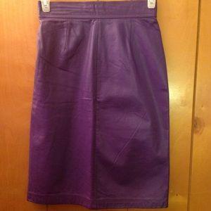 Dresses & Skirts - Vintage purple real leather skirt Sz M